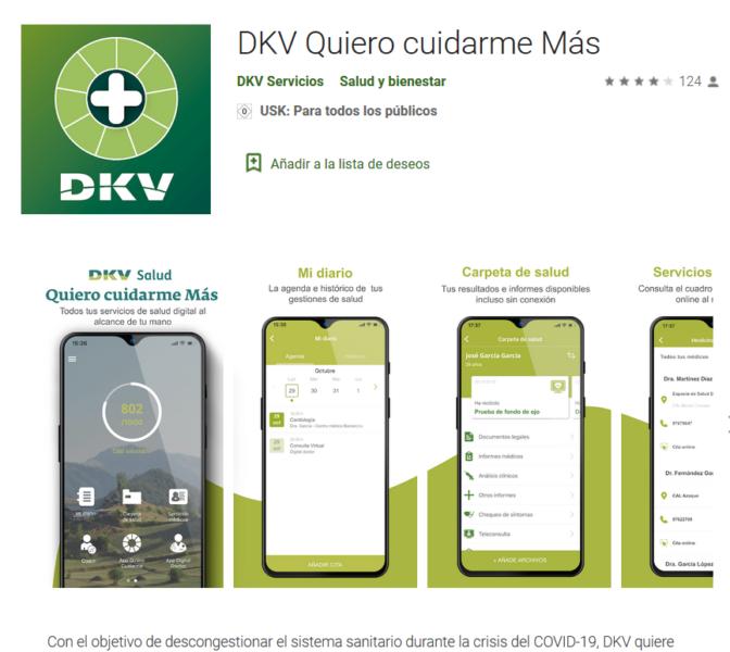 Captura APP coronavirus de DKV